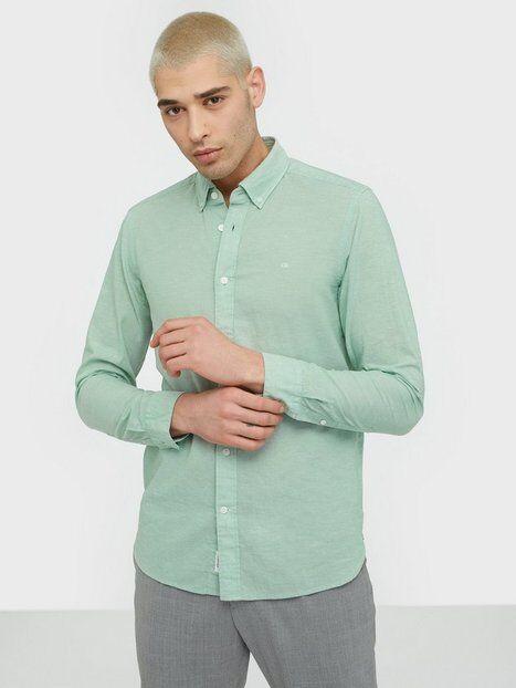 Image of Calvin Klein Button Down Cotton Linen Shirt Kauluspaidat Green