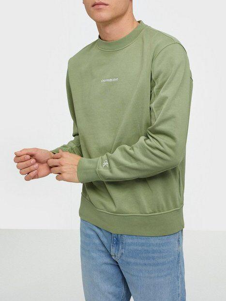 Image of Calvin Klein Jeans Instit Chest Logo Crewneck Puserot Green
