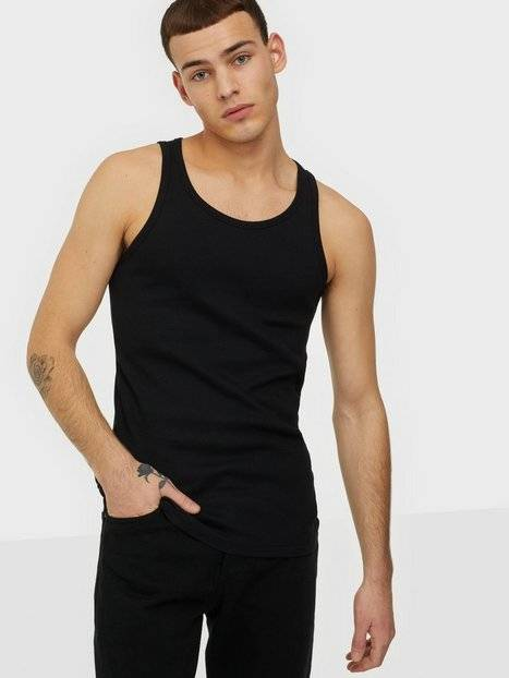 Image of Bread & Boxers Ribbed Tank Top T-paidat ja topit Musta