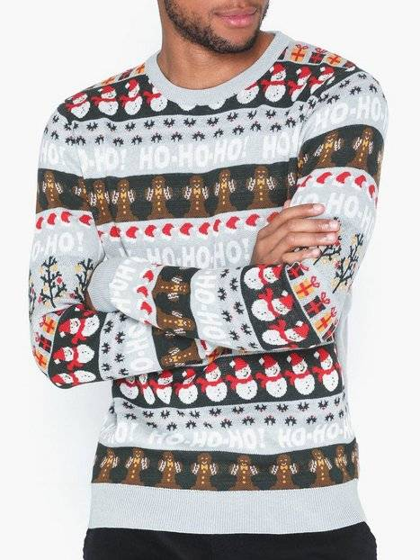 Solid Gerry O-Neck X-Mas Knit Puserot Light Grey Melange