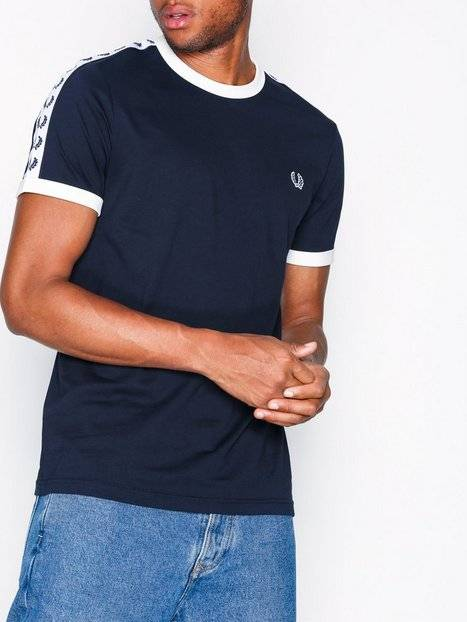 Fred Perry Taped Ringer T-Shirt T-paidat ja topit Carbon Blue