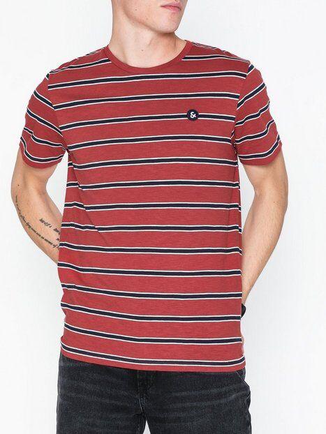 Jack & Jones Jorstanford Tee Ss Crew Neck T-paidat ja topit Tummanpunainen
