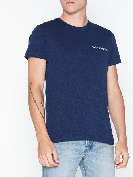 Calvin Klein Jeans Chest Instit Slub Slim Ss T-paidat ja topit Sininen