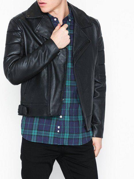 Topman Blk Zip Leather Bkr Takit Black