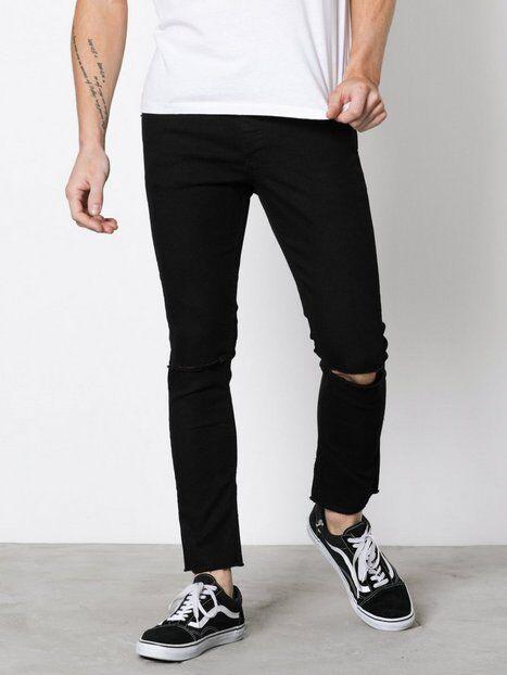 Solid Dexter Stretch Crop Jeans Farkut Black