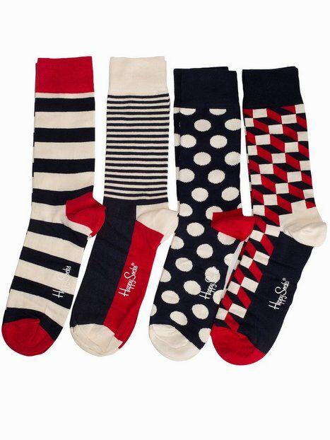Happy Socks Stripe Gift Box Sukat Blue