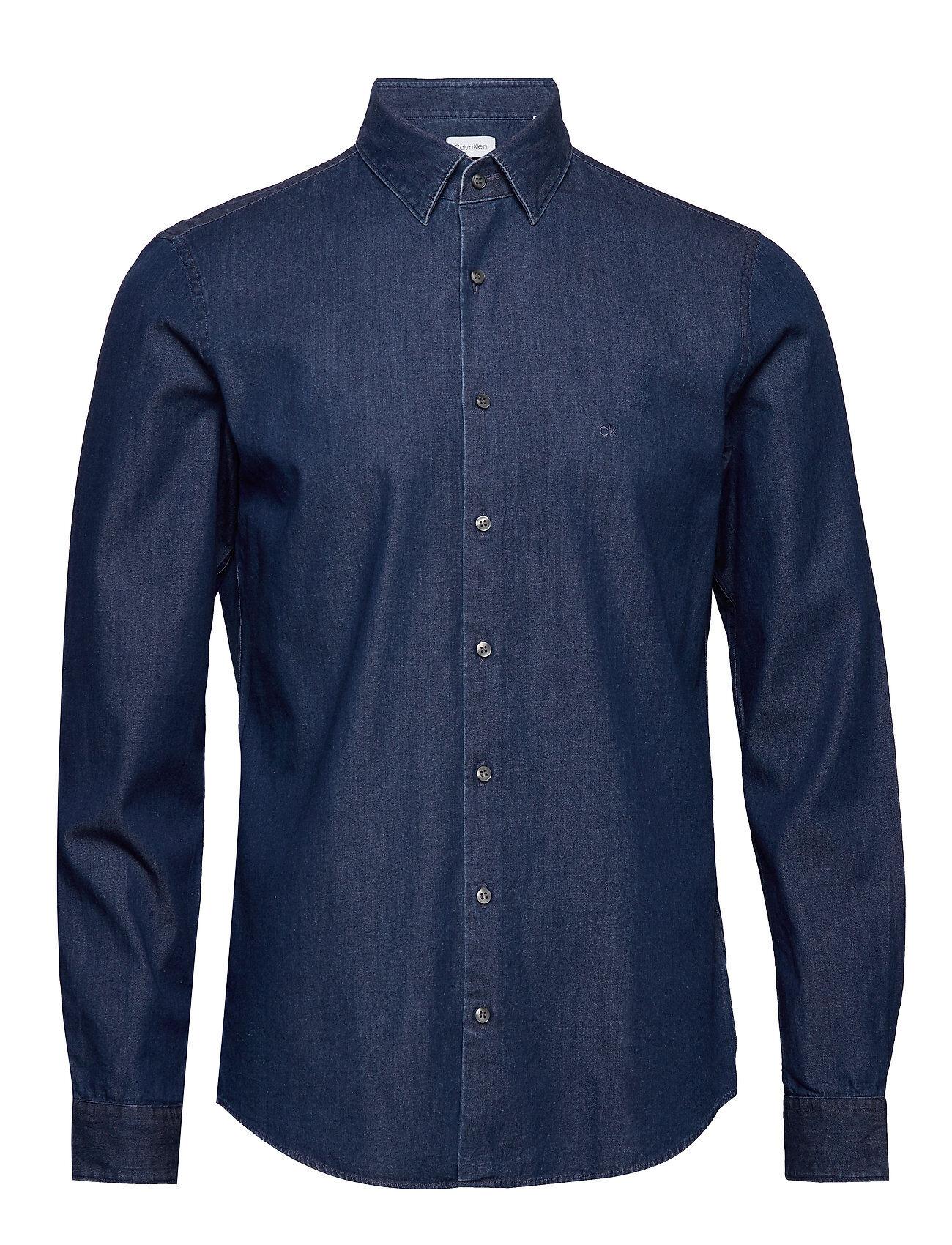 Image of Calvin Denim Washed Slim Shirt Paita Rento Casual Sininen Calvin Klein