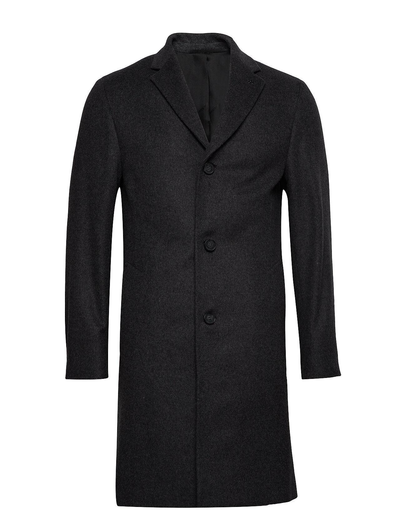Image of Calvin Cashmere Wool Crombie Coat Villakangastakki Pitkä Takki Musta