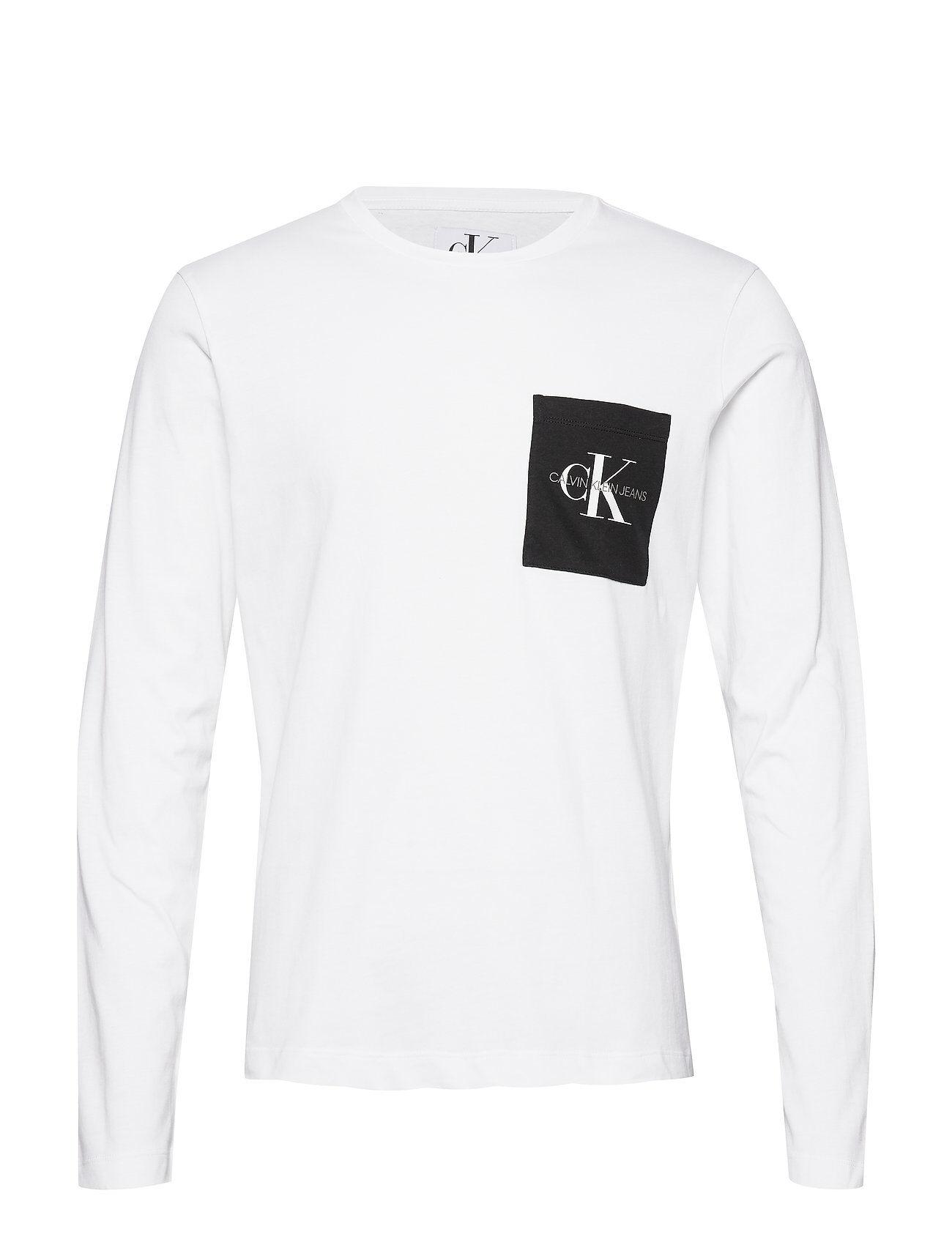 Image of Calvin Monogram Pocket Slim Ls Tee T-shirts Long-sleeved Valkoinen