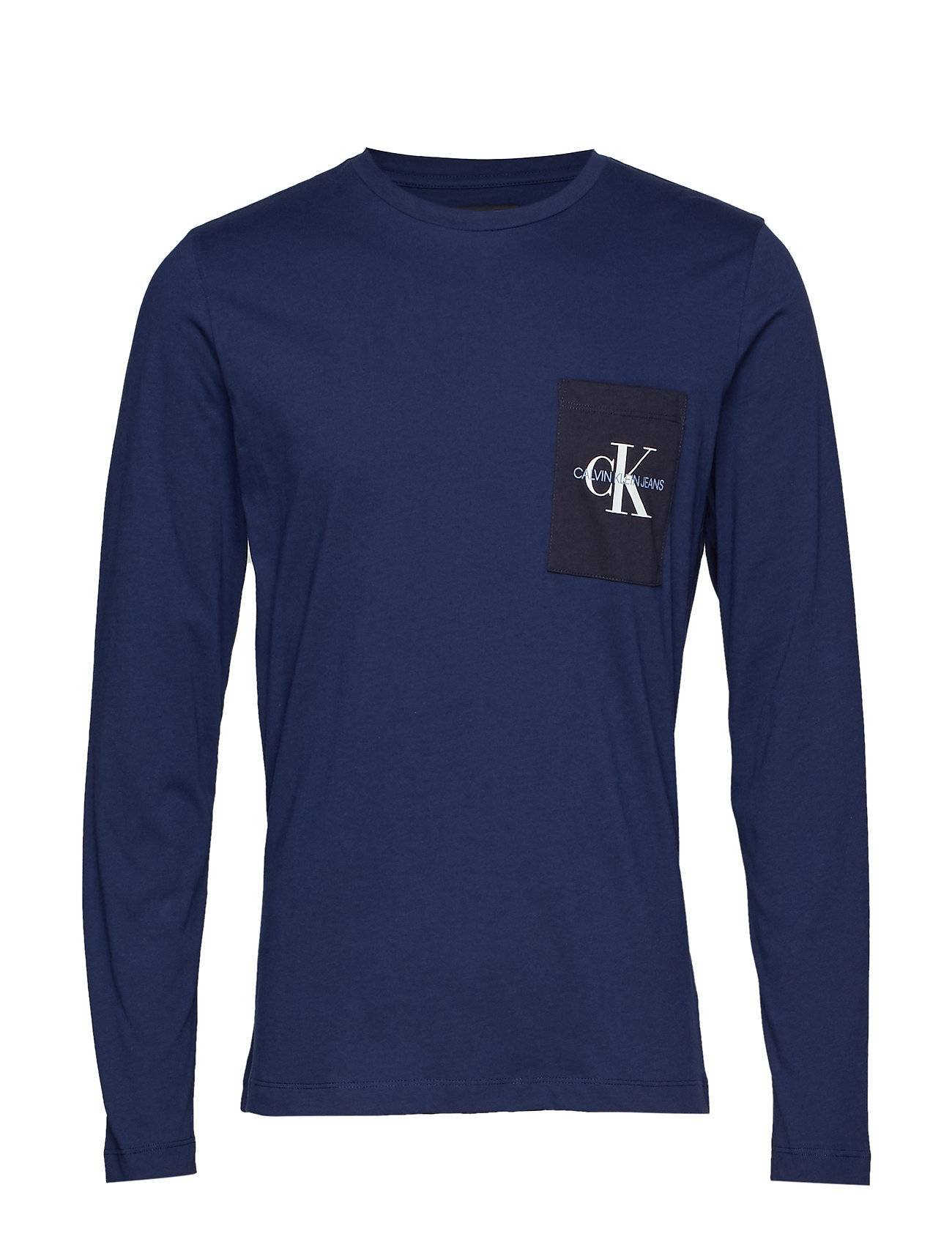 Image of Calvin Monogram Pocket Slim Ls Tee T-shirts Long-sleeved Sininen