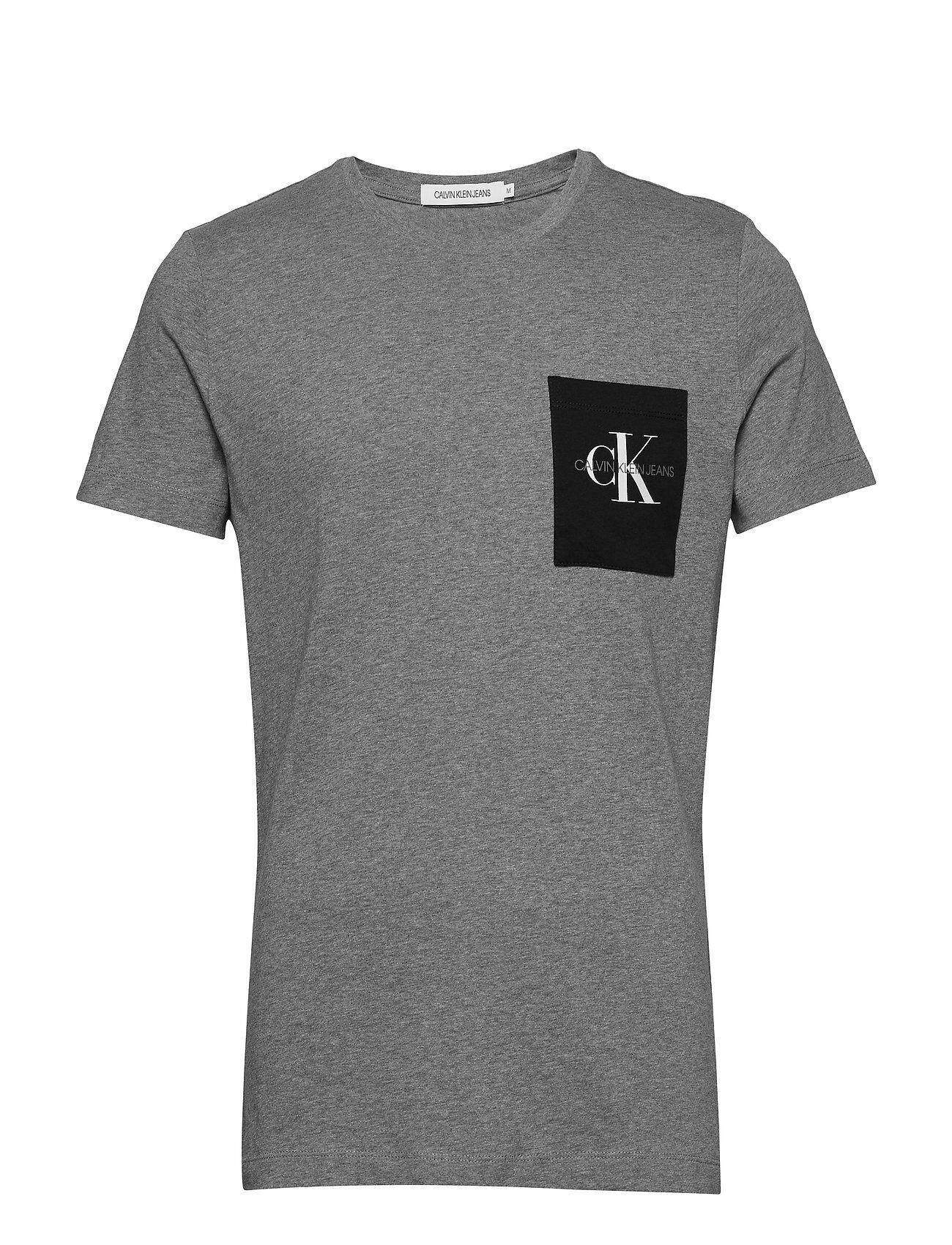Image of Calvin Monogram Pocket Slim Tee T-shirts Short-sleeved Harmaa Calvin Klein Jeans