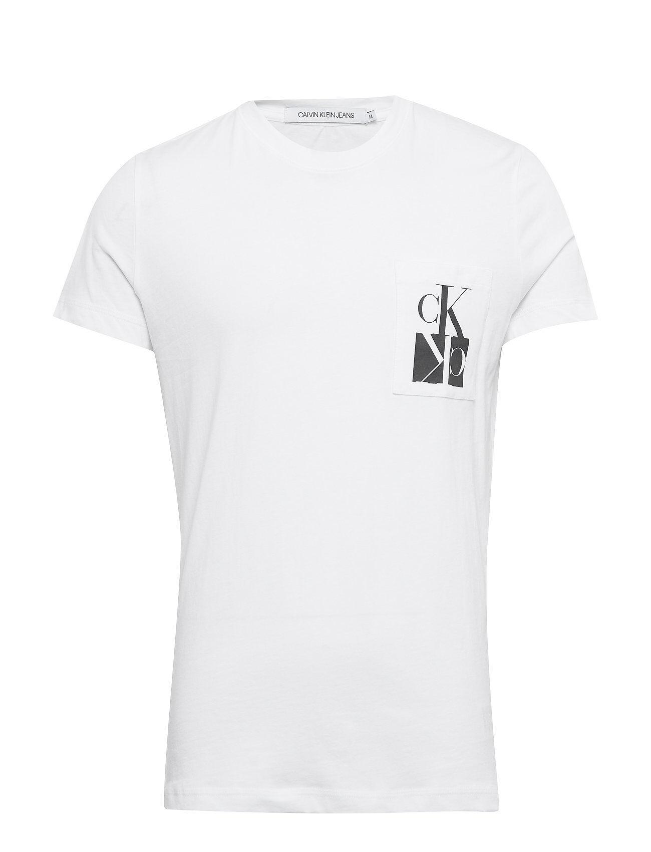 Image of Calvin Mirrored Monogram Pkt Slim Tee T-shirts Short-sleeved Valkoinen Calvin Klein Jeans