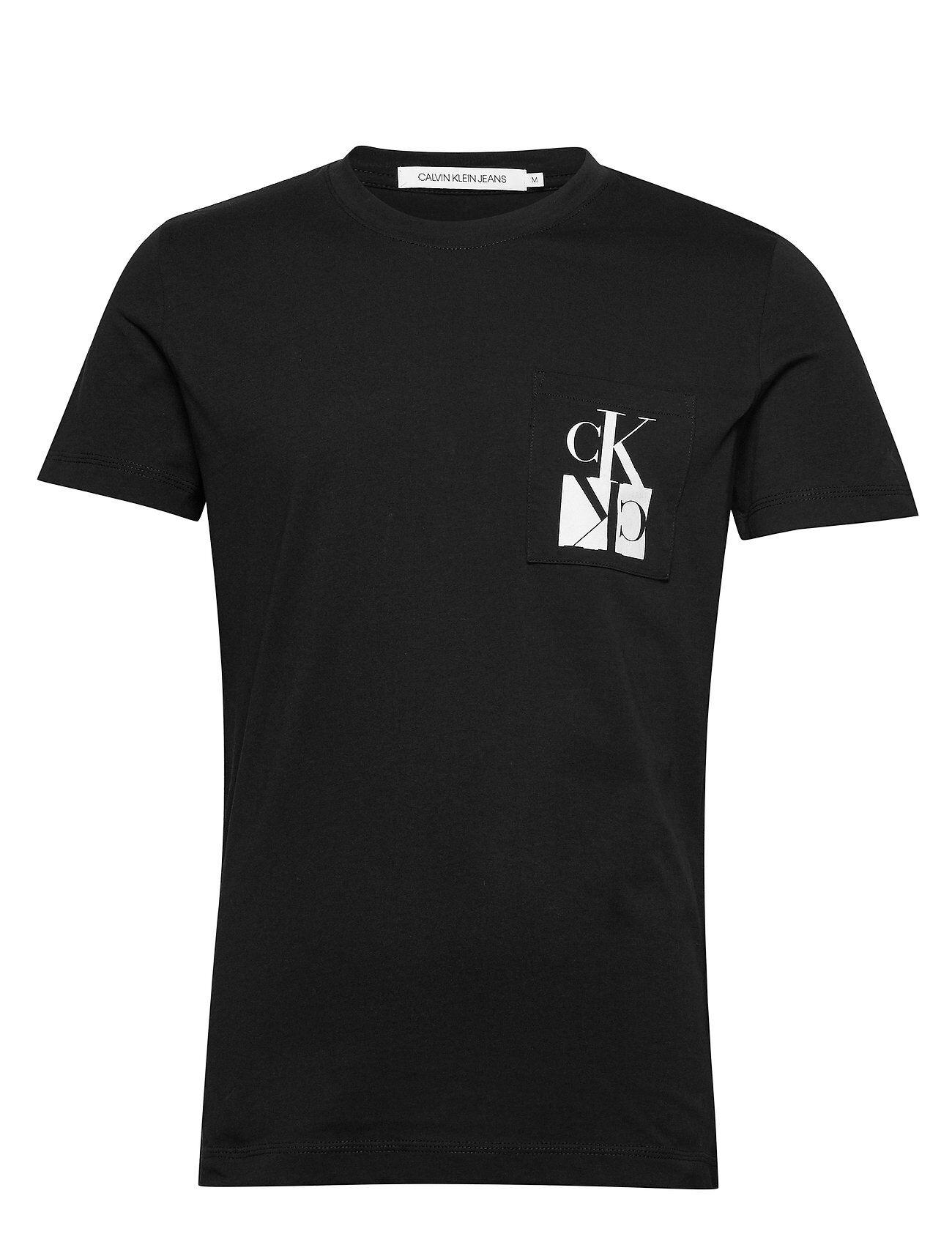 Image of Calvin Mirrored Monogram Pkt Slim Tee T-shirts Short-sleeved Musta Calvin Klein Jeans