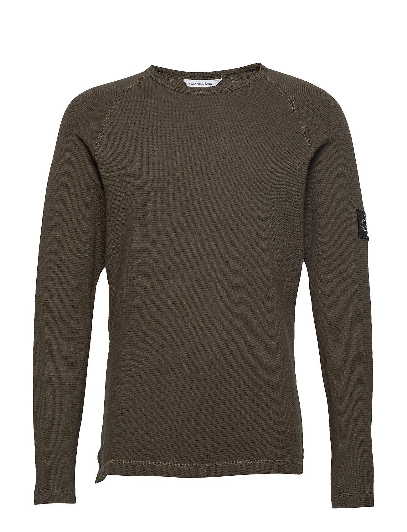 Image of Calvin Waffle Monogram Sleeve Slim L/S T-shirts Long-sleeved Vihreä Calvin Klein Jeans