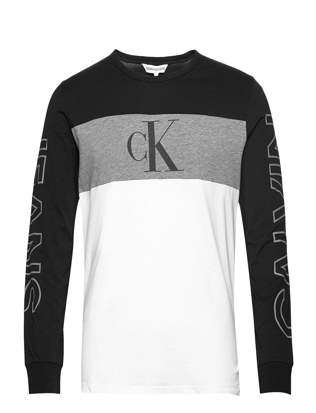 Image of Calvin Blocking Statement Ls Slim Tee T-shirts Long-sleeved Harmaa Calvin Klein Jeans