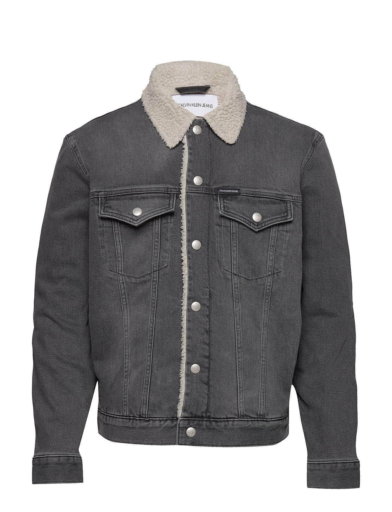 Image of Calvin Sherpa Foundation Denim Jacket Farkkutakki Denimtakki Harmaa Calvin Klein Jeans