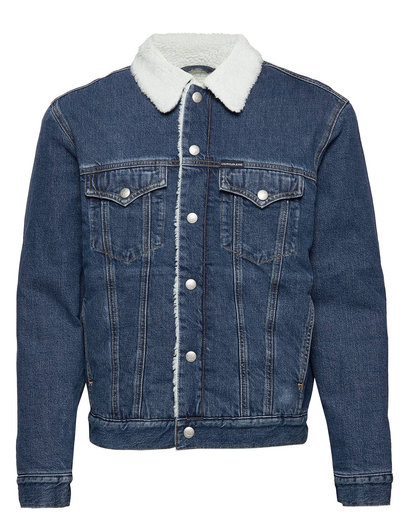 Image of Calvin Sherpa Foundation Denim Jacket Farkkutakki Denimtakki Sininen Calvin Klein Jeans