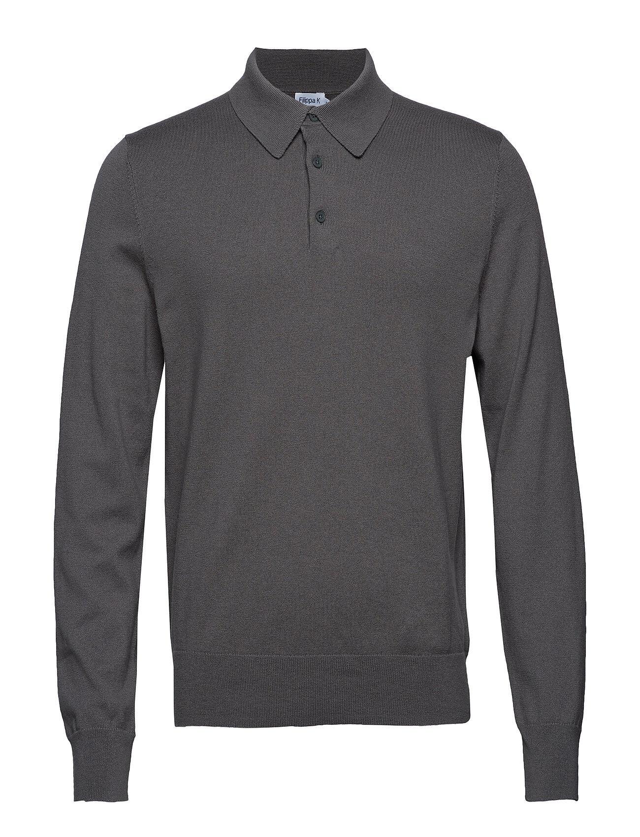 Filippa K M. Knitted Polo Shirt Polos Long-sleeved Harmaa