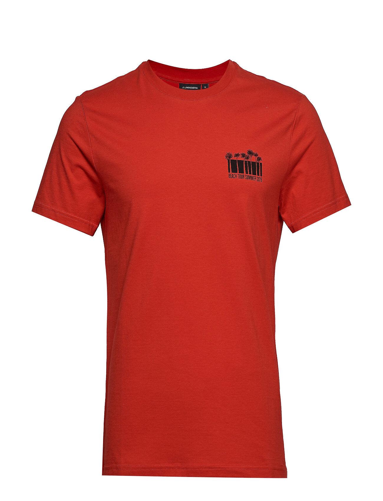 J. Lindeberg Brand Tee Bridge S Jersey T-shirts Short-sleeved Punainen