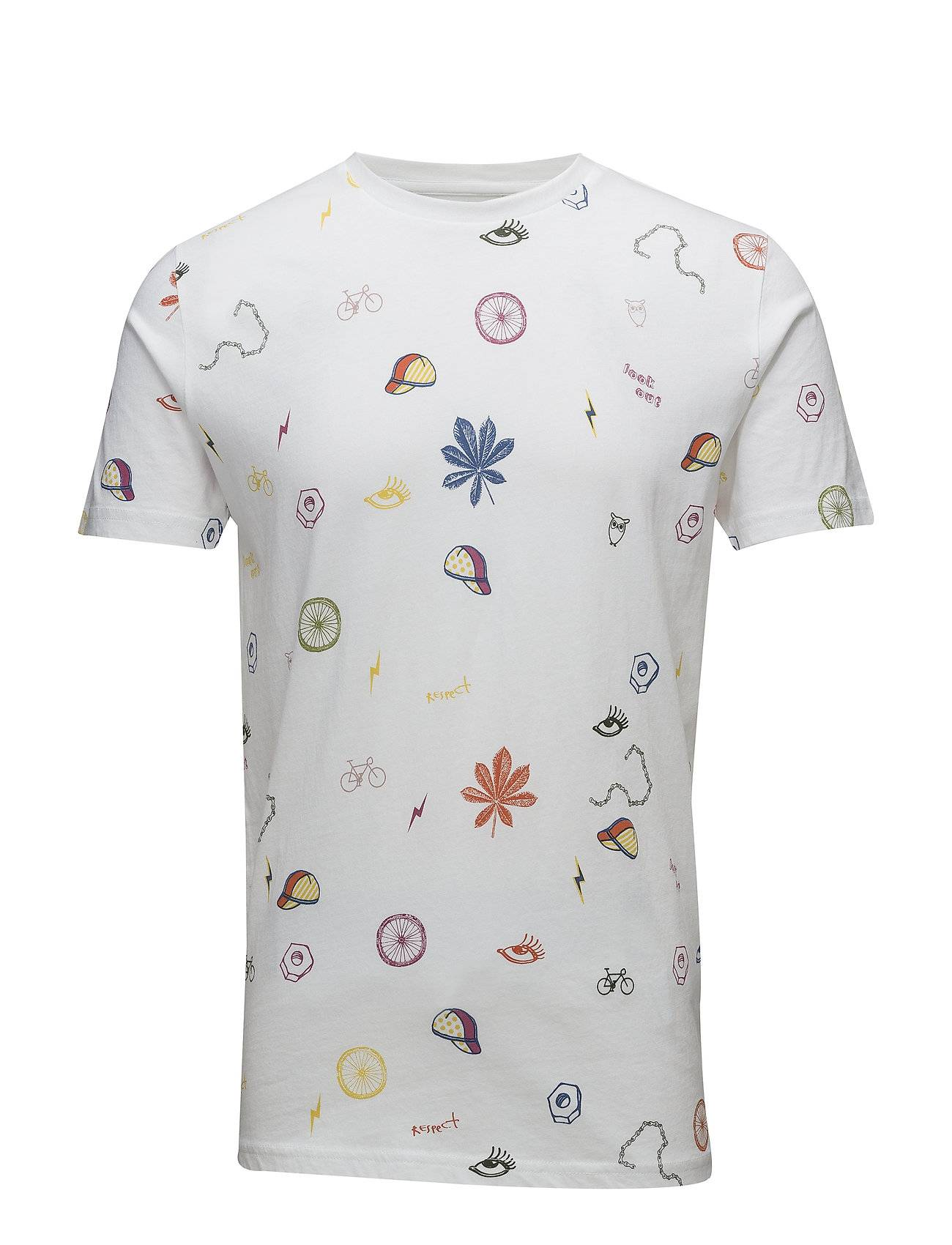 Knowledge Cotton Apparel T-Shirt With All Over Concept Print