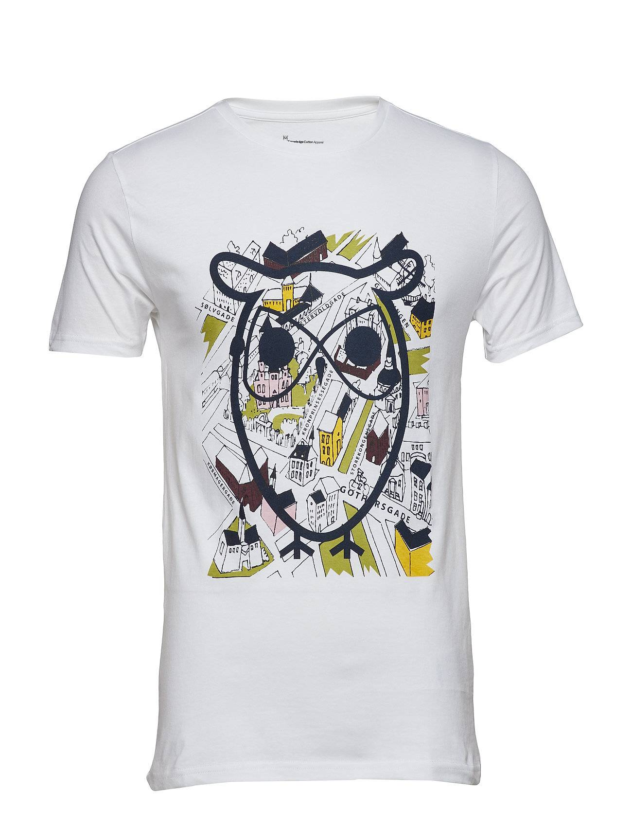 Knowledge Cotton Apparel T-Shirt With Street Print And Owl -