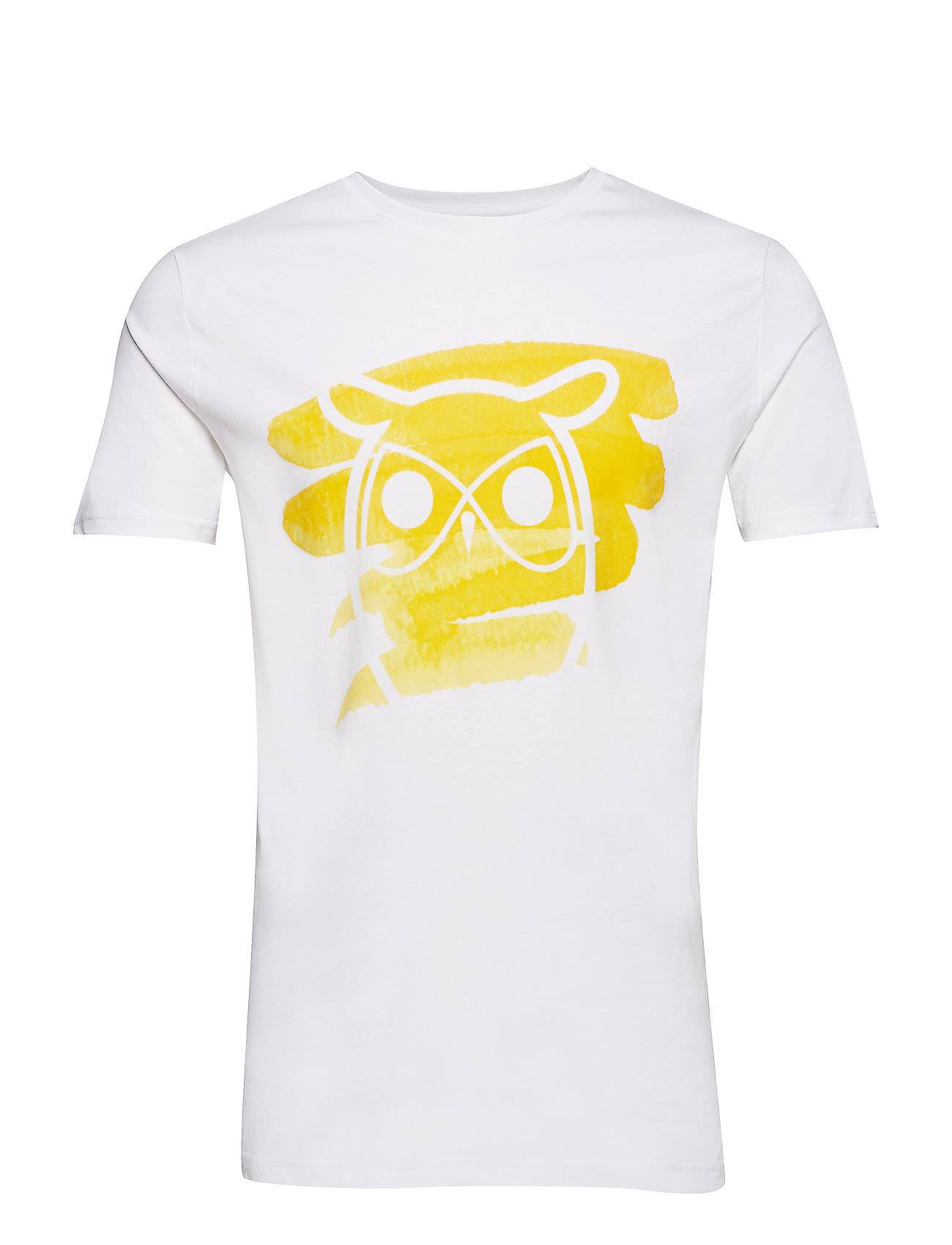 Knowledge Cotton Apparel T-Shirt With Owl And Brush Print -