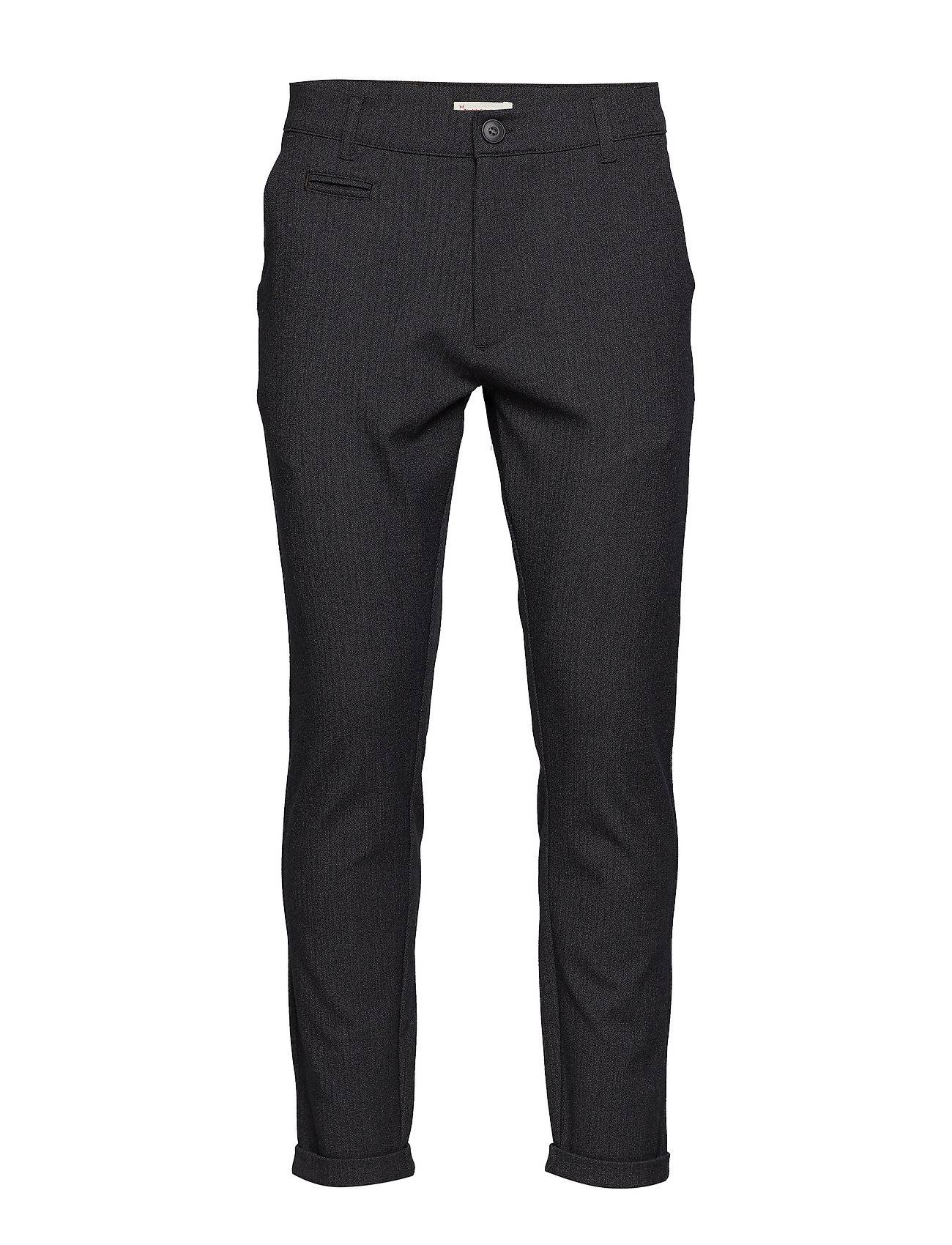 Knowledge Cotton Apparel Fishbone Structured Chino With Turn