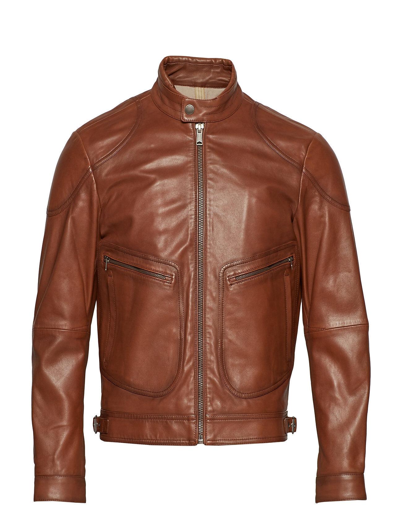 Mango Man Leather Elbow-Patch Biker Jacket