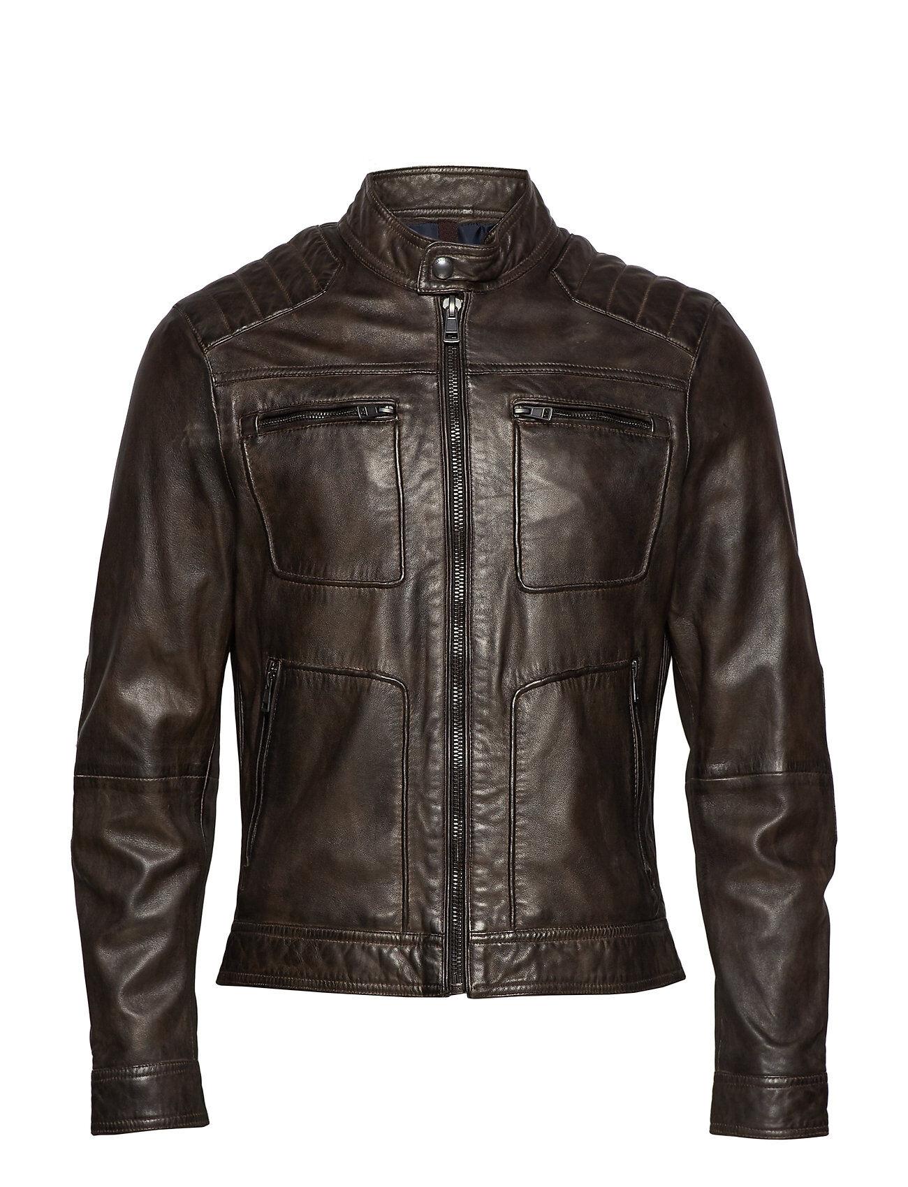 Mango Man Zipper Leather Biker Jacket