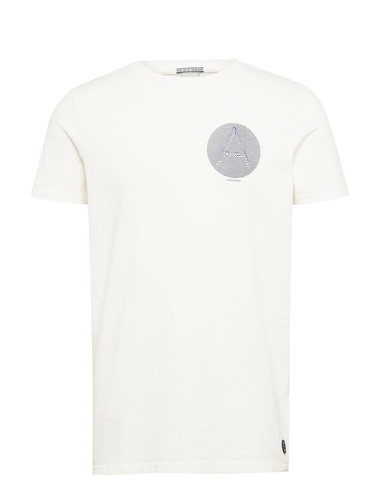 Image of Scotch & Soda Ams Blauw Washed Rocker Tee With Seasonal Artworks T-shirts Short-sleeved Valkoinen Scotch & Soda