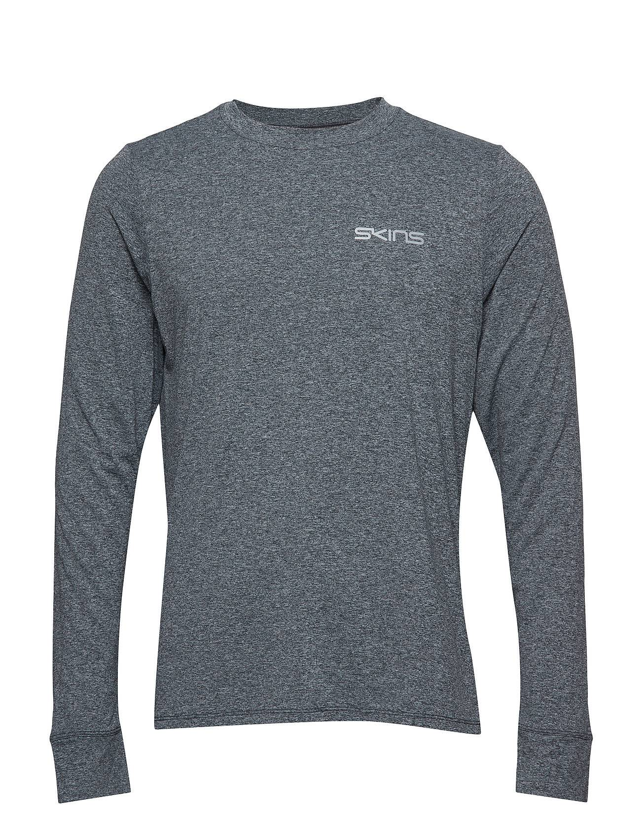 Skins Activewear Bergmar Mens Active Top L/S Round Neck T-shirts Long-sleeved Harmaa Skins