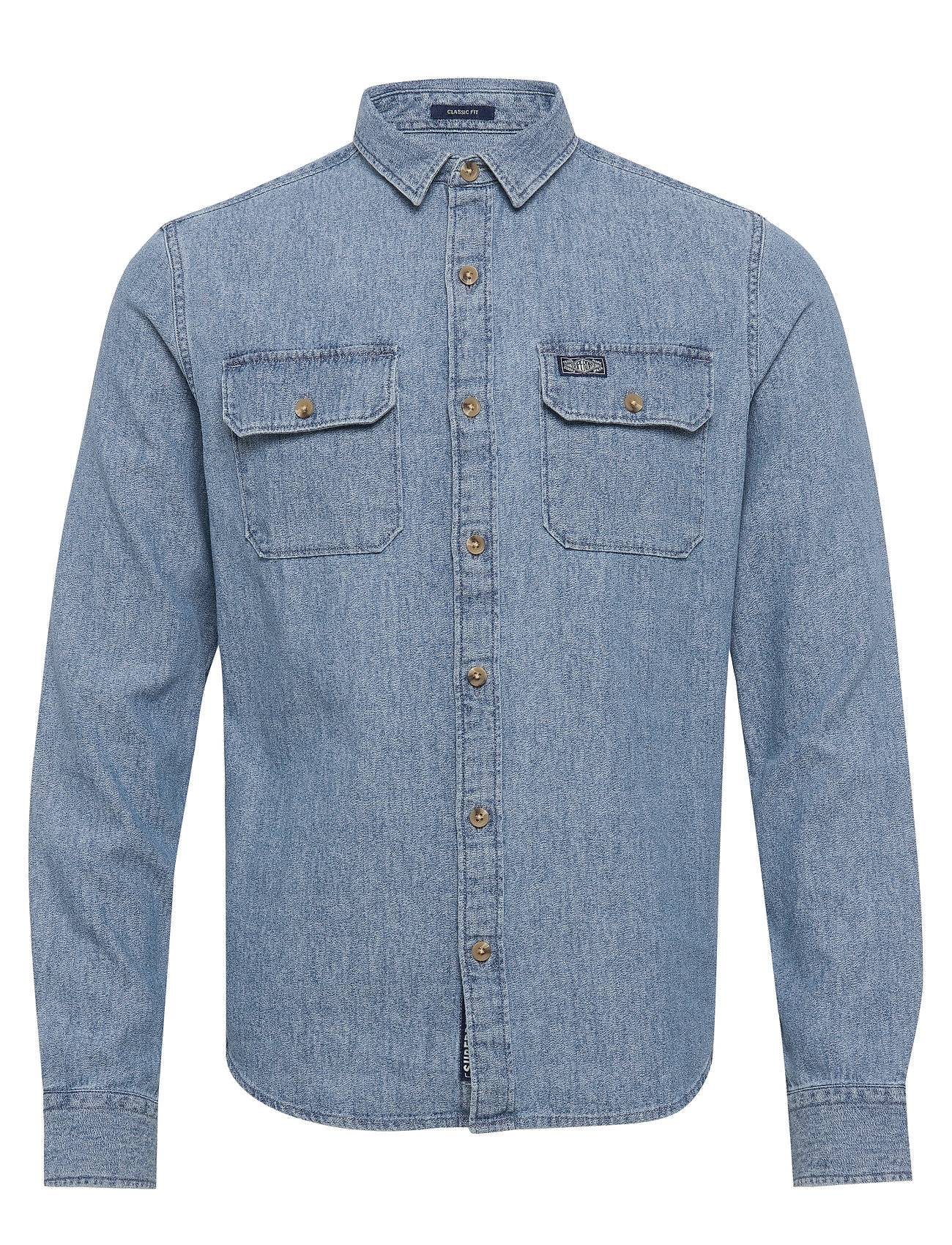 Image of Superdry Merchant Milled Lite L/S Shirt Paita Rento Casual Sininen Superdry