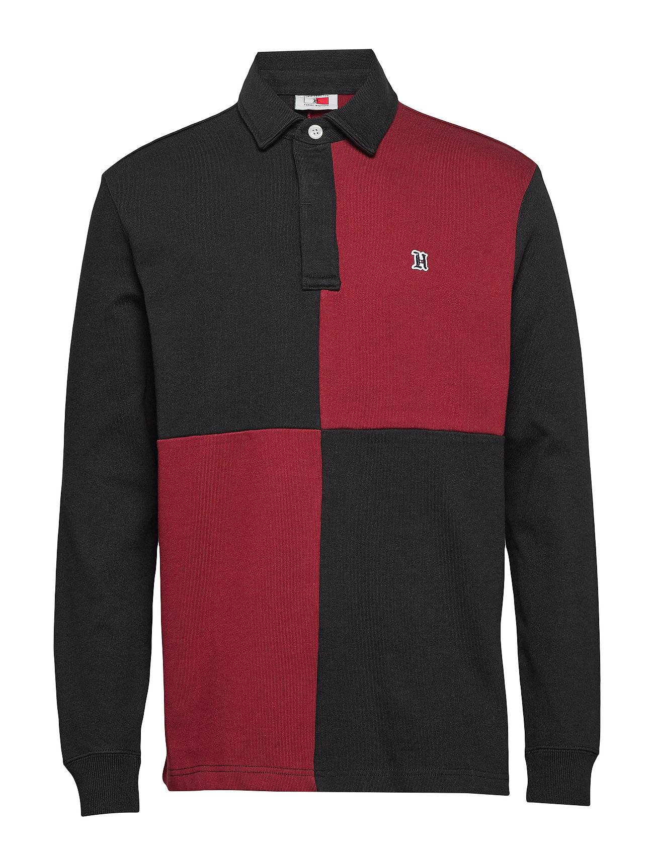 Tommy Hilfiger Lh Colour Block Rugby Shirt Polos Long-sleeved Punainen Tommy Hilfiger