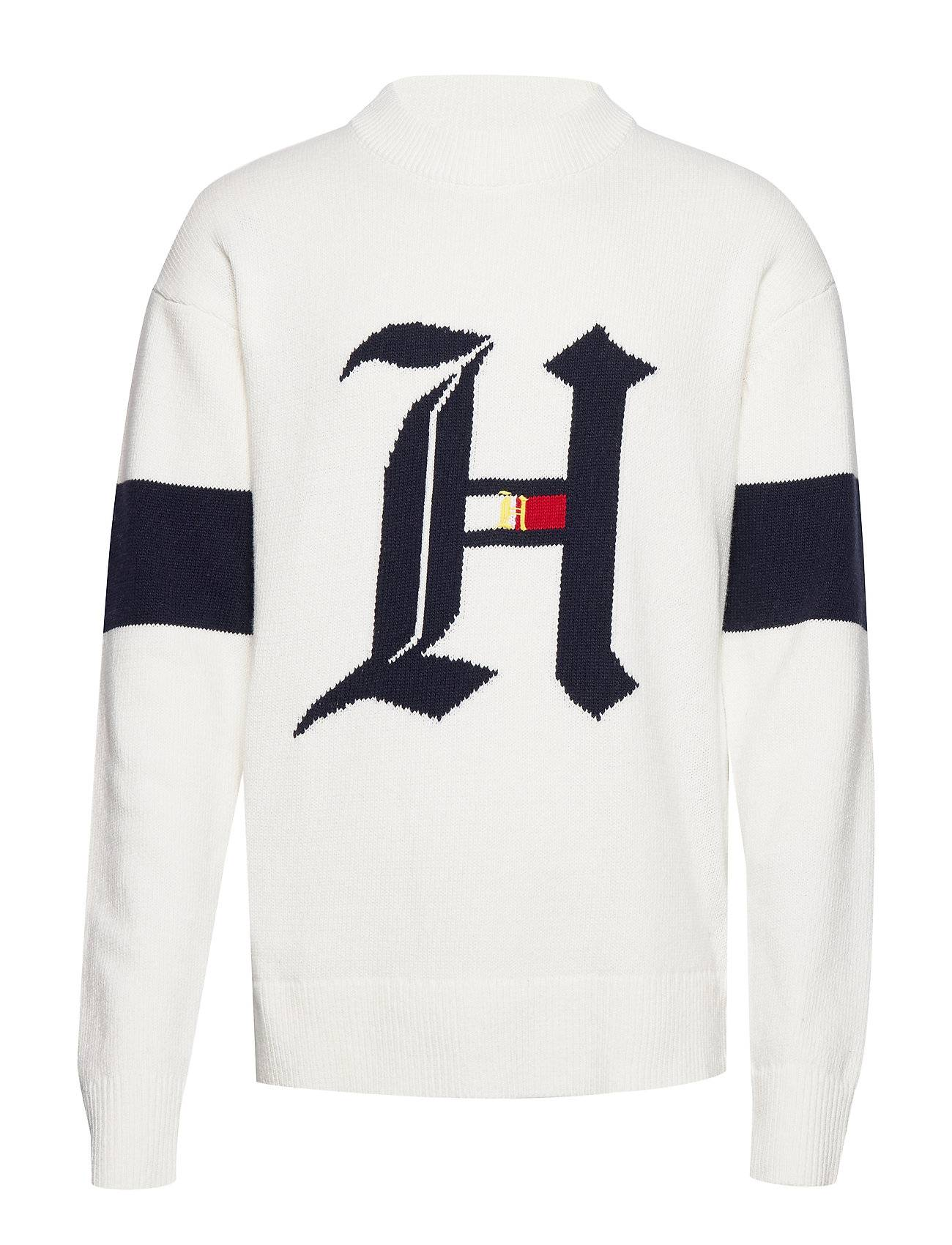 Tommy Hilfiger Lh Over D Graphic Sweater Svetari Collegepaita Valkoinen Tommy Hilfiger