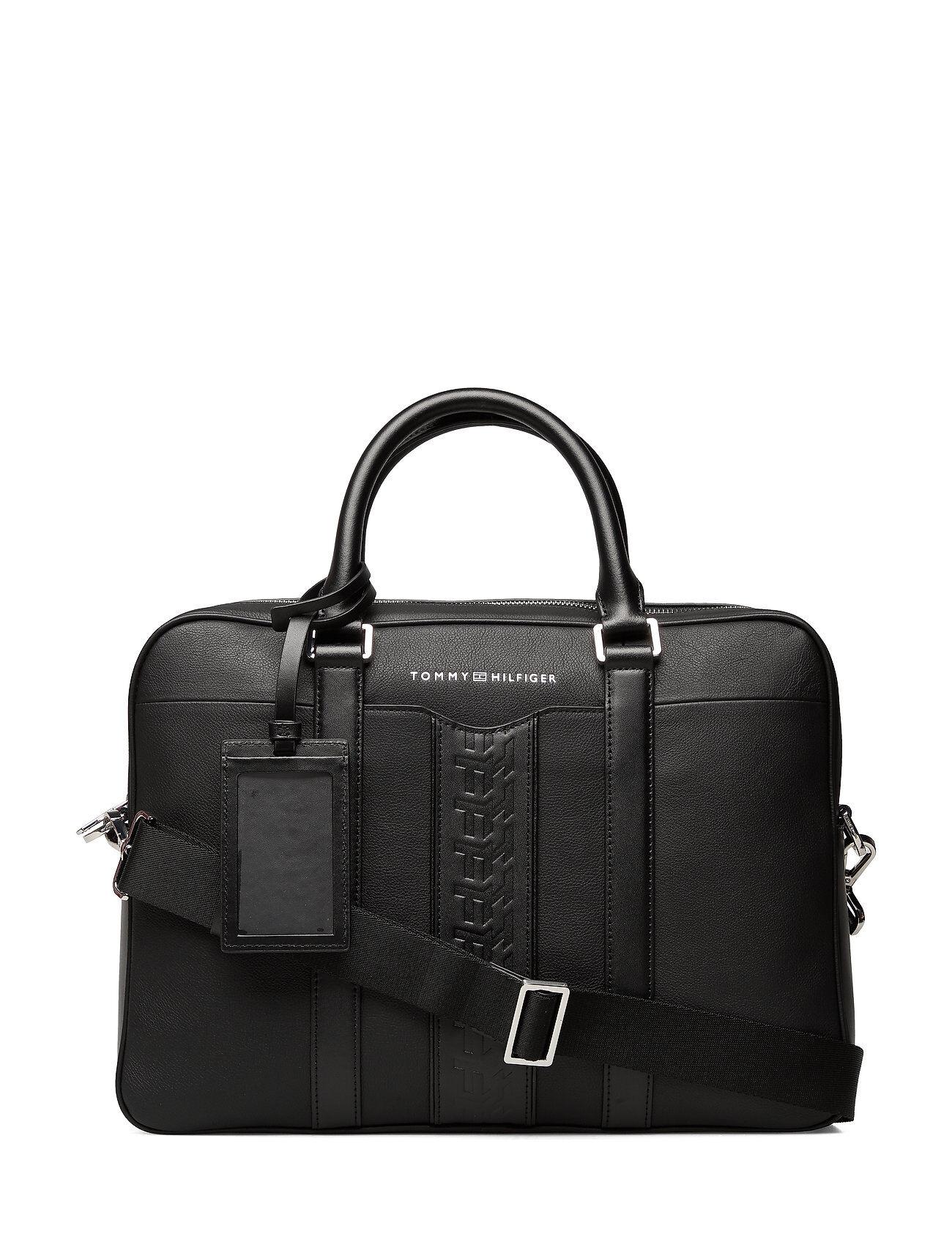 Tommy Hilfiger Leather Computer Bag Tietok Laukku Läppärilaukku Laukku Musta Tommy Hilfiger