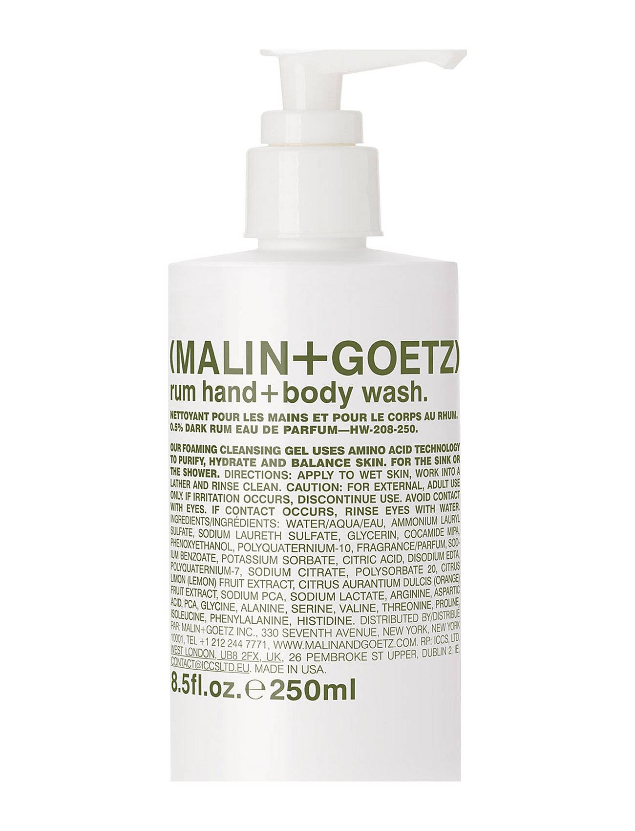 Malin+Goetz Rum Hand + Body Wash Beauty MEN Skin Care Body Shower Gel Nude Malin+Goetz