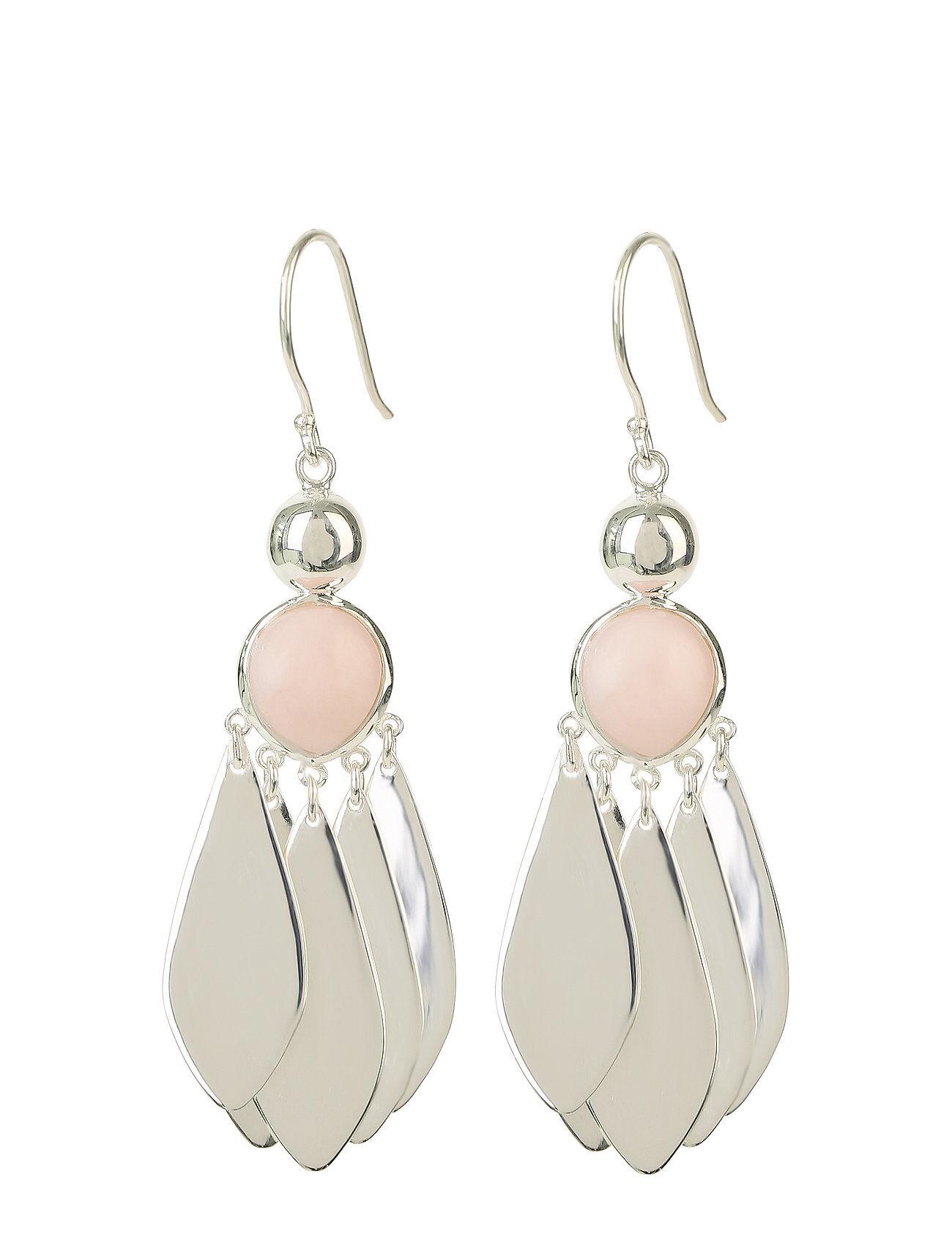 Syster P Flakes Big Earrings Silver Pink Opal Korvakoru Korut Hopea Syster P
