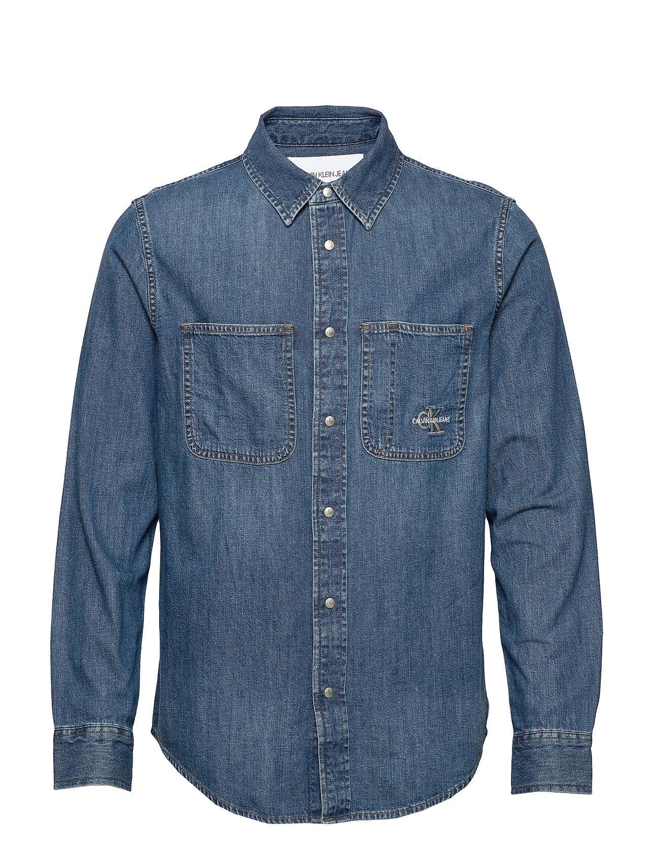Image of Calvin Iconic Shirt Paita Rento Casual Sininen Calvin Klein Jeans