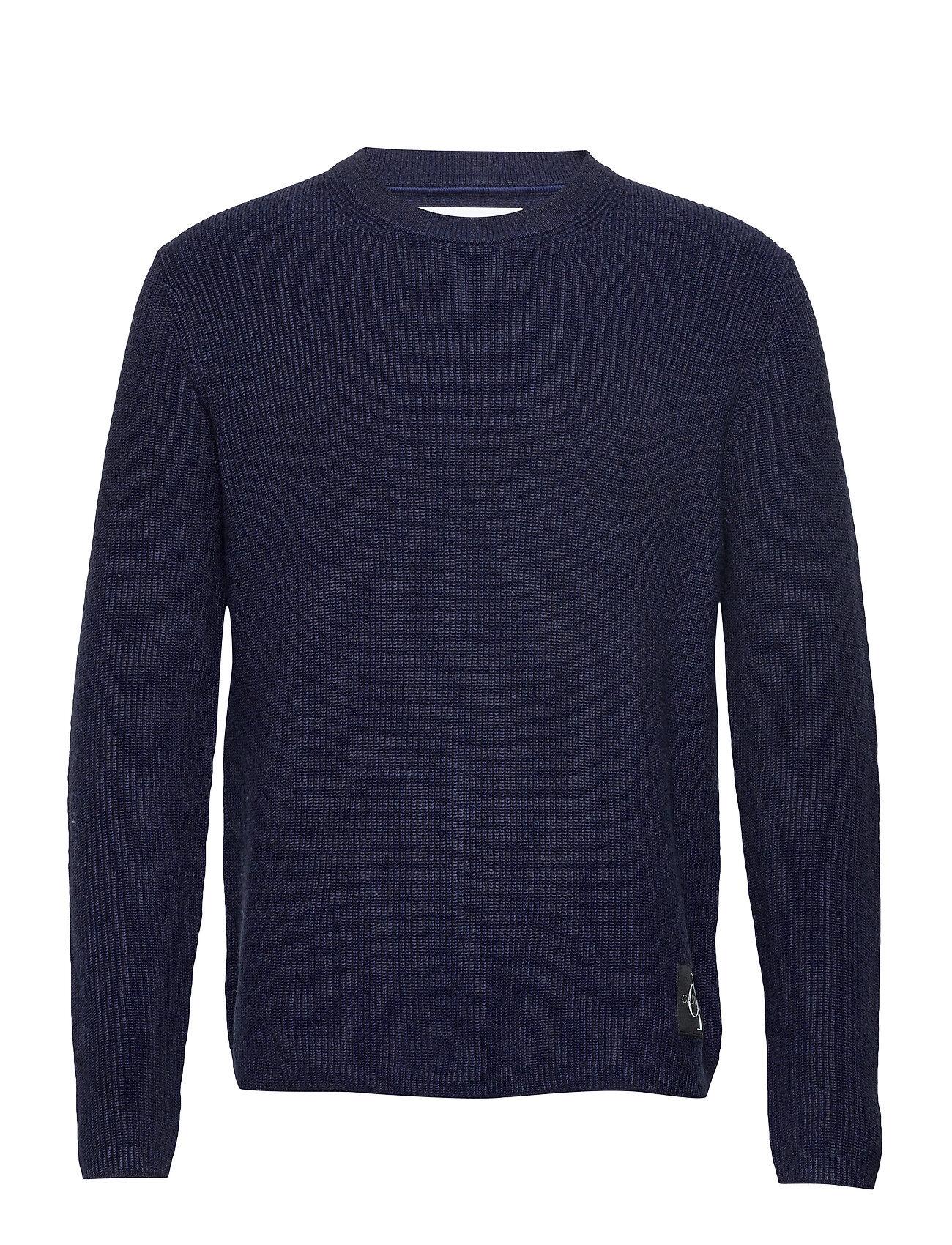 Image of Calvin Two T Cotton Cn Sweater Neulepaita Pyöreä Kaula-aukko Sininen Calvin Klein Jeans