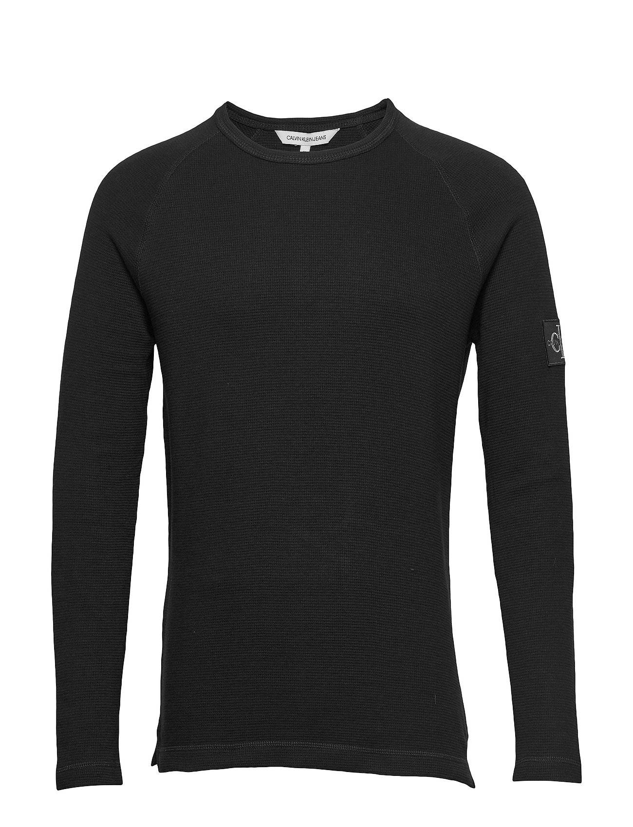 Image of Calvin Waffle Monogram Sleeve Slim L/S T-shirts Long-sleeved Musta Calvin Klein Jeans