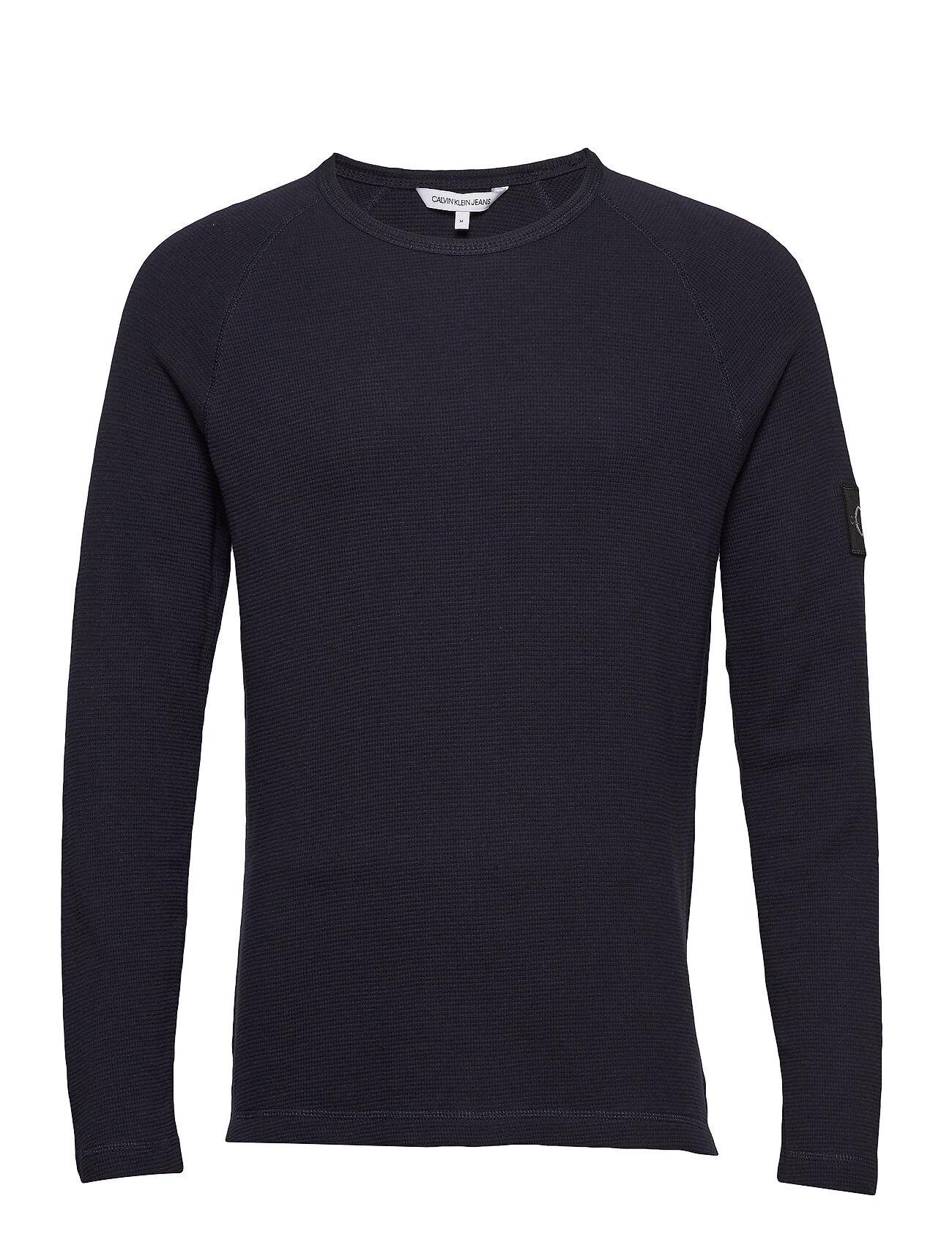 Image of Calvin Waffle Monogram Sleeve Slim L/S T-shirts Long-sleeved Sininen Calvin Klein Jeans