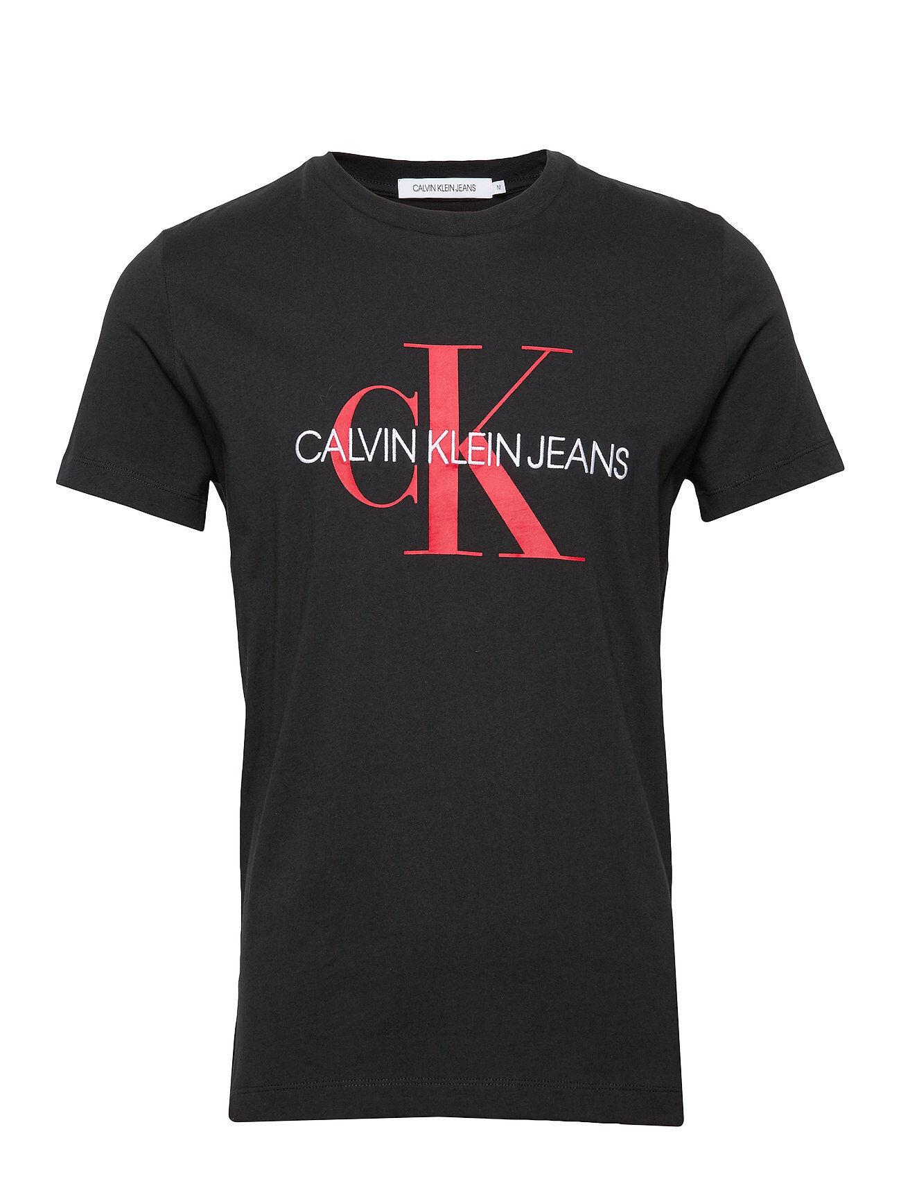Image of Calvin Monogram Logo Slim Tee T-shirts Short-sleeved Musta Calvin Klein Jeans