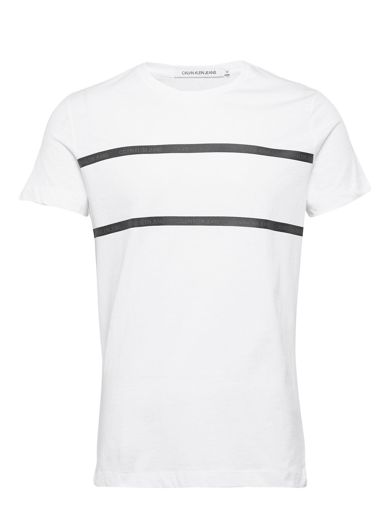 Image of Calvin Instit Tape Detail Slim T-Shirt T-shirts Short-sleeved Valkoinen Calvin Klein Jeans