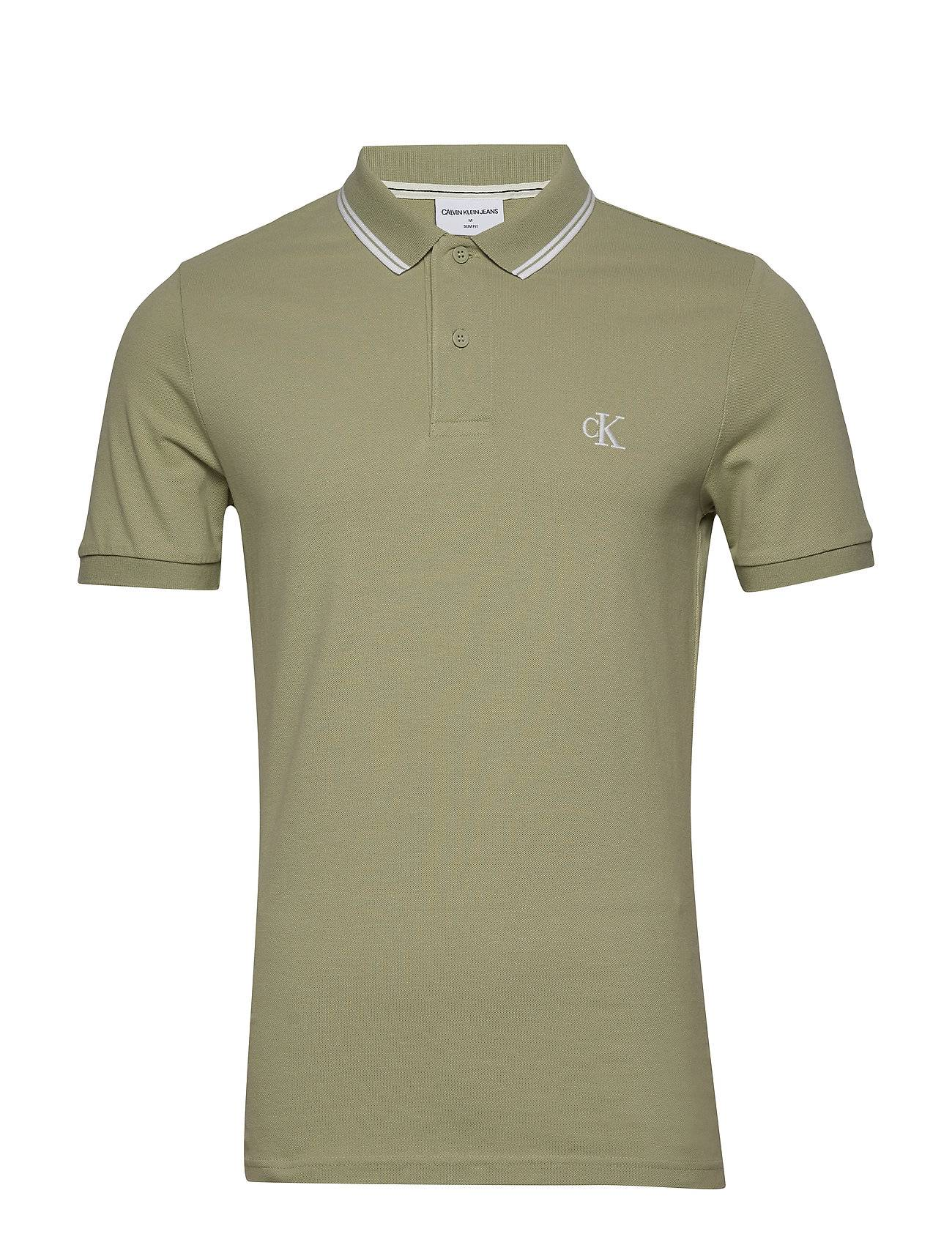 Image of Calvin Ck Essential Tipping Slim Polo Polos Short-sleeved Vihreä Calvin Klein Jeans