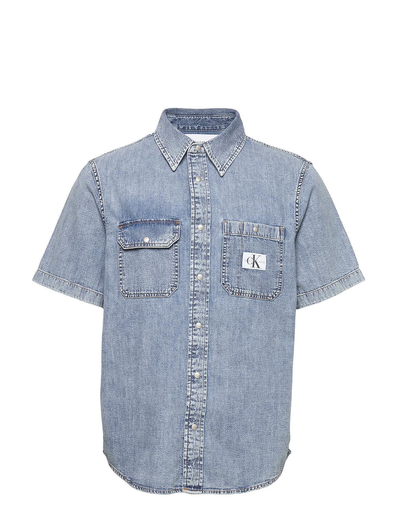 Image of Calvin Short Sleeve Utility Shirt Lyhythihainen Paita Sininen Calvin Klein Jeans