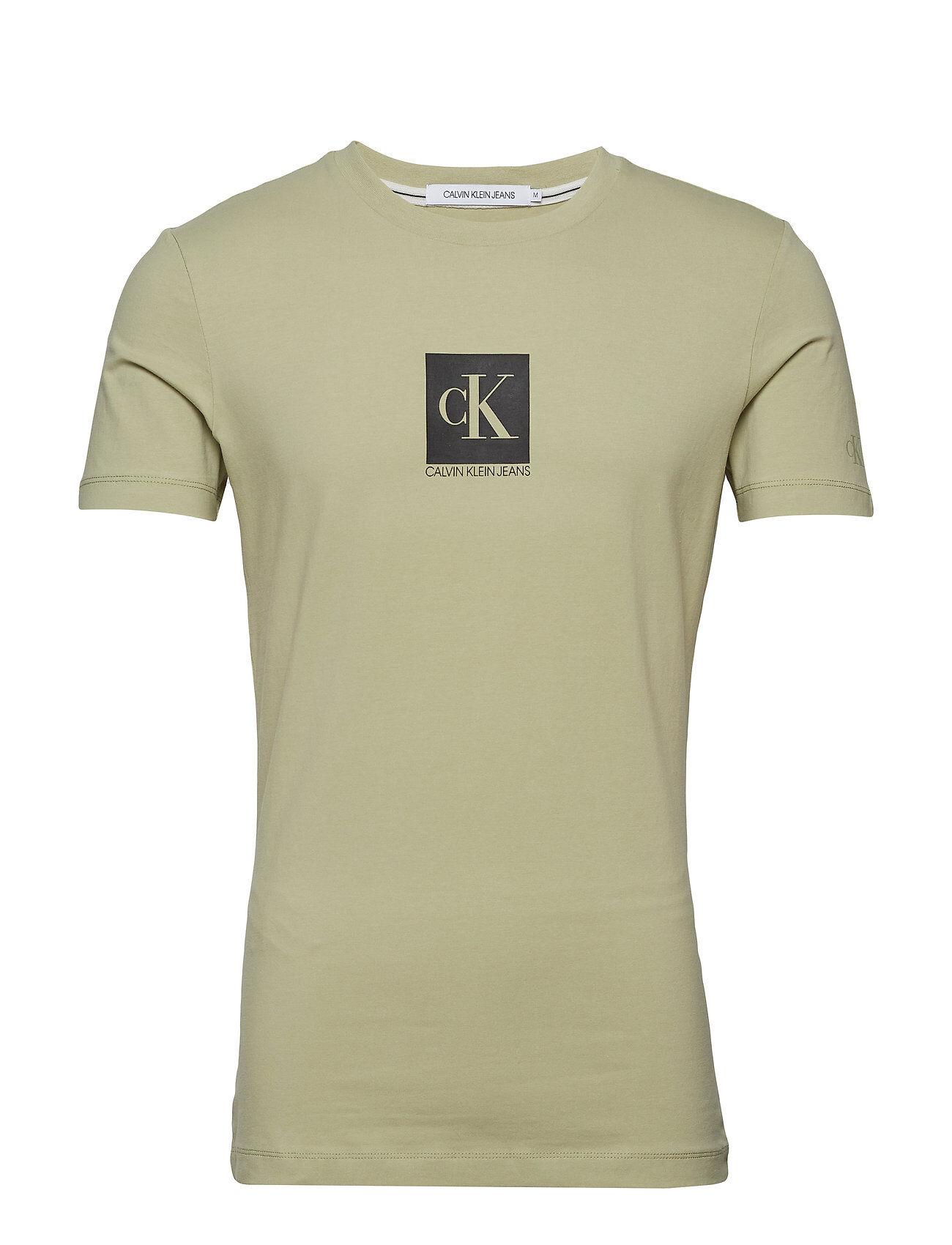 Image of Calvin Center Monogram Box Slim Tee T-shirts Short-sleeved Vihreä Calvin Klein Jeans