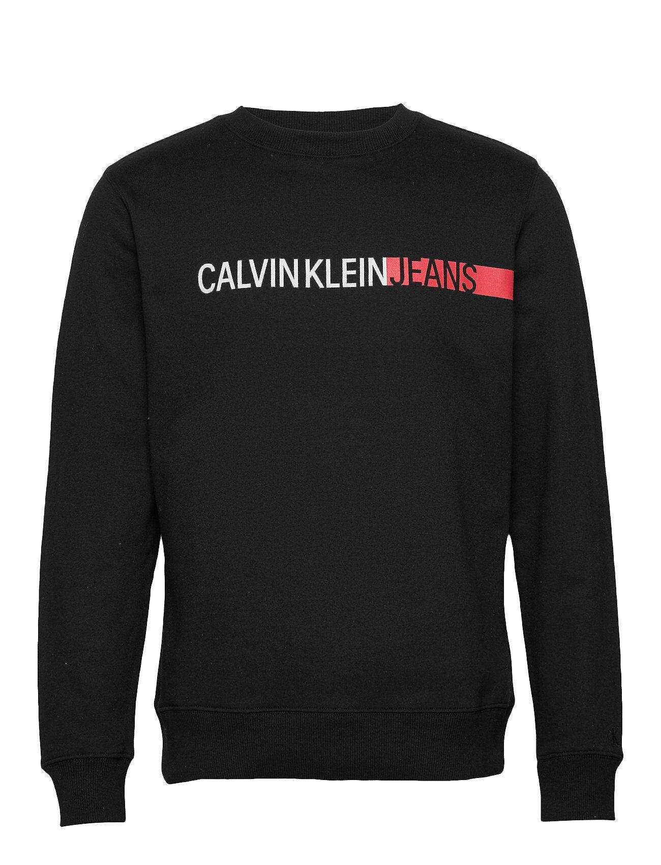Image of Calvin Stripe Institutional Logo Reg Cn Svetari Collegepaita Musta Calvin Klein Jeans