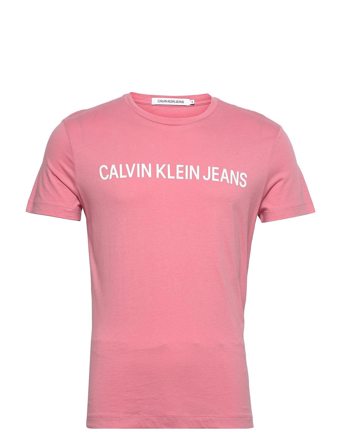 Image of Calvin Instit Back Pop Logo Slim Tee T-shirts Short-sleeved Vaaleanpunainen Calvin Klein Jeans