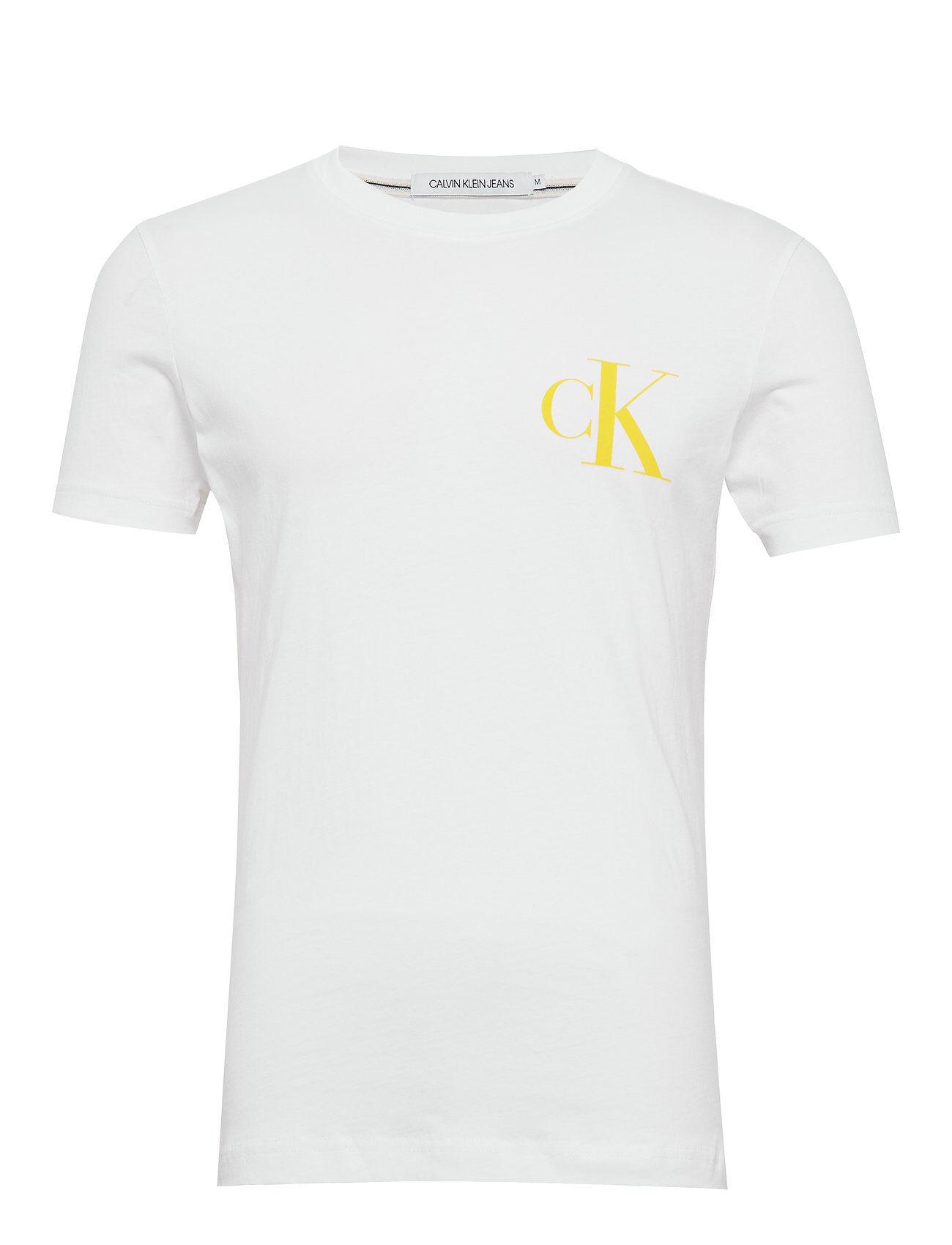 Image of Calvin Instit Back Pop Logo Slim Tee T-shirts Short-sleeved Valkoinen Calvin Klein Jeans