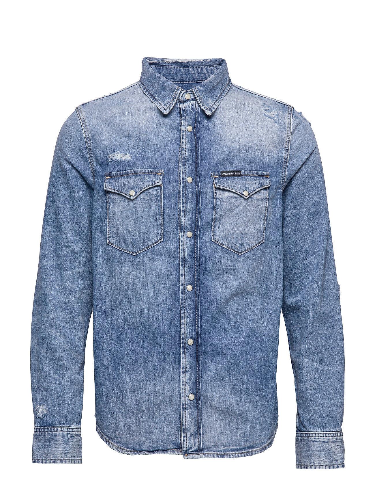Image of Calvin Modern Western Shirt Paita Rento Casual Sininen Calvin Klein Jeans